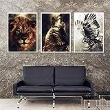 Surfilter HD Acuarela Lion Eagle Wolf Wall Art Canvas Pintura Nórdica Posters e impresiones Fondos para la sala de estar Decoración del hogar 40x60cm 16x24inchx3 Sin marco