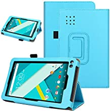 KuRoKo Slim Classic Flip PU Leather Folio Case for RCA Voyager II 7 / RCA Voyager 7 (2016, 2017) / RCA 7 Voyager Pro Tablet (Blue)