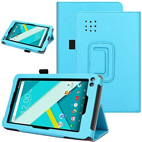 KuRoKo Slim Classic Flip PU Leather Folio Case for RCA Voyager II 7 / RCA Voyager 7 (2016, 2017) / RCA 7 Voyager Pro Tablet (Blue)