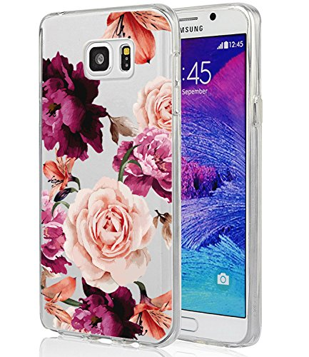 BAISRKE Galaxy Note 5 Case, Note 5 Case with Flowers Slim Shockproof Clear Floral Pattern Soft Flexible TPU Back Cove for Samsung Galaxy Note 5 [Purple Pink Roses]