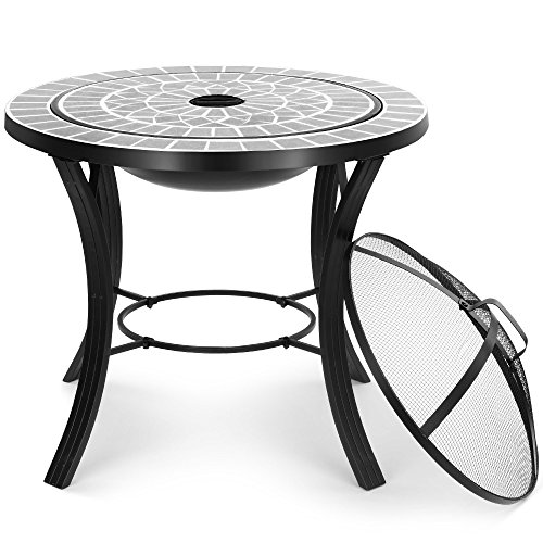 VonHaus Mosaic Fire Pit Coffee Table - Garden Brazier BBQ and Outdoor Fire Bowl and Patio Heater - Grey