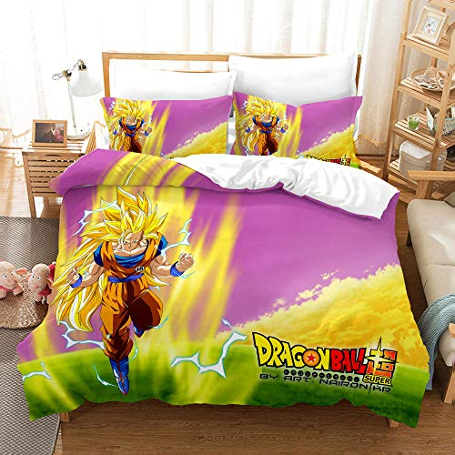 Colchas fundas de edredón,Juego de cama para niños Dragonball Z Goku - Funda nórdica con 2 fundas de almohada Juego de cama Super Saiyan de dibujos animados impresos en 3D-caricatura 4_El 150 * 200cm