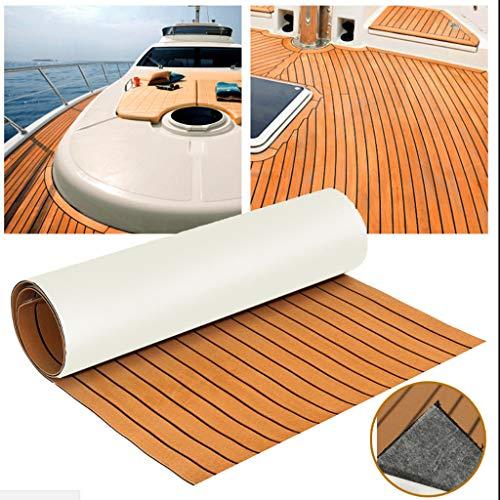 MASO 90×240cm EVA Synthetisch Schuim Jacht Boot Teak Decking Sheet Marine Vloeren Anti Slip,Achterkant met 3M Lijm (Donker Bruin Met Zwart)