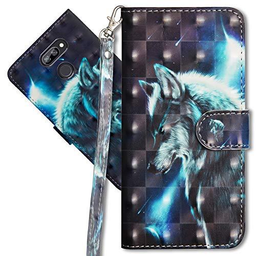 MRSTER LG K40s Handytasche, Leder Schutzhülle Brieftasche Hülle Flip Hülle 3D Muster Cover mit Kartenfach Magnet Tasche Handyhüllen für LG K40s. YX 3D Wolf