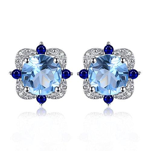 JewelryPalace Art Und Weise 2.25ct Echtes Himmel Blaues Topas Bolzen Ohrringe 925 Sterling Silber