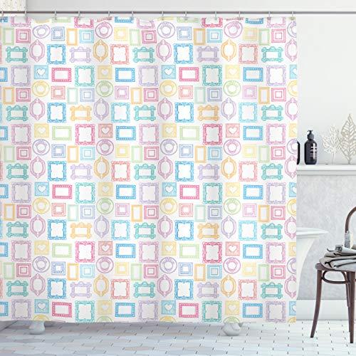 ABAKUHAUS Kleurrijk Douchegordijn, Diverse fotolijsten, stoffen badkamerdecoratieset met haakjes, 175 x 180 cm, Baby Blue Pastel Bruin Wit