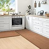 Color&Geometry Juego de 2 Piezas de Alfombra Cocina Lavable Antideslizante,alfombras Cocina 44x75cm+44x200cm,alfombras para Cocina Adecuada para pasillos,entradas,manteles Individuales.(Marrón)