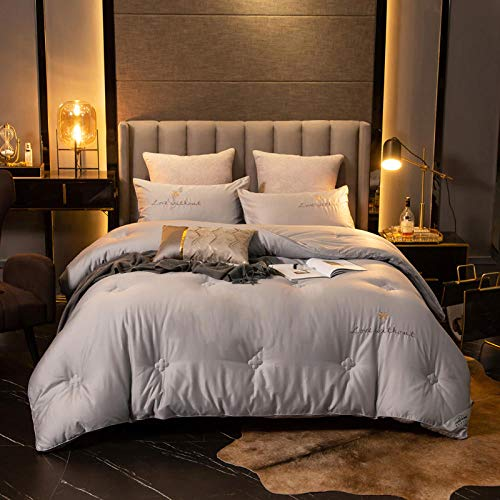 CHOU DAN Cotton Anti-Mite And Anti-Allergen-Rds Certification,Super Thick And Warm Duvet Doubled In Size-Energy Saving-200 * 230/Total Weight 4kg_gray