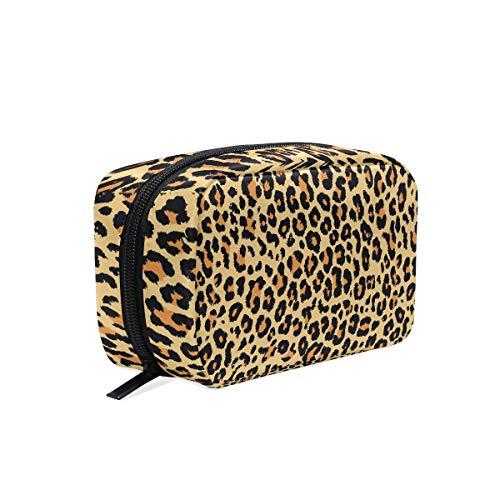 Jaune Motif léopard Maquillage Sac Cosmétique Sac de toilette Sac de voyage Coque pour femme, étui de rangement organiseur portable Sacs Box