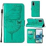 WJMWF Compatible con Funda Samsung Galaxy S20 Mariposa Volador Patrón en Relieve PU Cuero Wallet Caso [Cierres Magnéticos] [Ranuras para Tarjetas] [Soporte Plegable] Anti-Shock Cáscara-Verde
