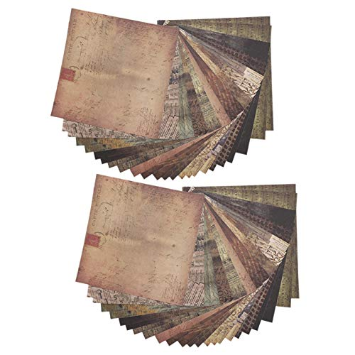 Papel de álbum de fotos de bricolaje, como una colección de material retro y papel de fondo de decoración para letras, empaques de arte, álbumes de recortes y diarios. 24 hojas (2 copias de Pp14)