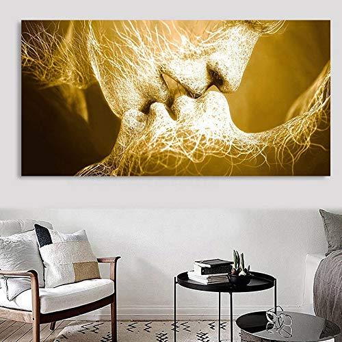 JHGJHK Pareja besándose Arte Pintura Abstracta Arte de la Pared para la Sala de Estar decoración del Dormitorio Pintura al óleo 2