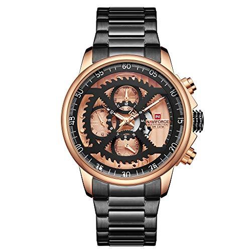 Reloj para Hombre de Acero Inoxidable Resistente al Agua con Correa de Metal-B