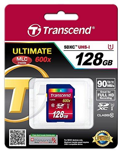 Transcend SDXC Card 128GB Class 10 UHS - Tarjeta de memoria SecureDigital de 128 GB (conmutador protección contra escritura, clase: 10, SDXC, UHS I, 600x), azul