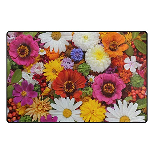 LZXO - Alfombra para sala de estar, diseño de margaritas y hojas, 152 x 100 cm, poliéster, multicolor, 60x39in