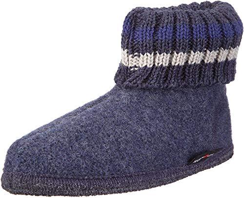 Haflinger Paul, Hüttenschuhe, Unisex-Erwachsene, Walkstoff aus reiner Wolle ,Blau (Jeans 72) ,37