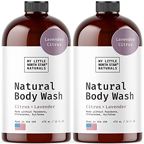 Body Wash   Natural Citrus Lavender Body wash & Shower Gel   Made in USA   2X16oz   Made Without Sulfates - Packaging May Vary
