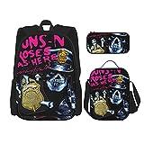 Guns'N-Roses-Skull (8) Mochila de viaje para acampar juvenil, mochila escolar de 3 piezas, bolsa de escuela+bolsa de almuerzo combinación