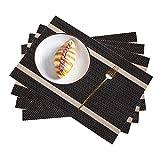 Pahajim Tovagliette Set di 4 Antimacchia Resistente Al Calore e Facile da Pulire Tovaglietta in PVC Antiscivolo Ideali Per La Cucina e La Tavola (Oro marrone, Set da 4)