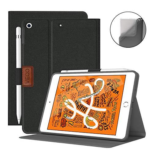 VECO iPad Mini 5 Case with Pencil Holder,Denim Series - Premium Shockproof Case with Auto Sleep/Wake Feature for iPad Mini 5th Generation (Black)