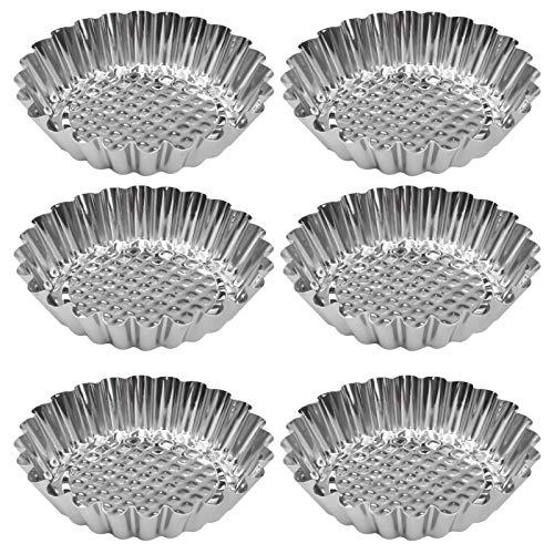 Stampi di Crostate di Uova Aluminum 6 pezzi Stampi per Tartellette Pirottini in Acciaio Formine Stampo Riutilizzabili per Muffin Cupcake Dessert Gelato Cioccolato 10CM