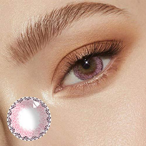 Muse Göttin Wunderschönen Farbige Kontaktlinsen Jahreslinsen, NatüRlich Weichen Federnd Hochdeckende Kontaktlinsenfarbe, Durchmesser 14.5mm,Ohne StäRke (rosa, 1 paar)