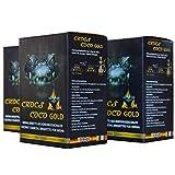 CROCS COCO Carbón para shisha dorado, carbón de coco con larga duración de combustión, pocas cenizas, bajo desarrollo de humo, carbón natural sostenible, cubo para cachimba con calidad prémium, 3 kg