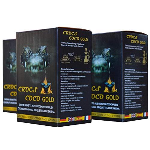 CROCS COCO Gold I Shisha Kohle I Kokosnuss Kohle mit Langer Brenndauer I wenig Asche I geringer Rauchentwicklung I Nachhaltige Naturkohle Shisha I Shisha Würfel mit Premium Qualität I 3kg