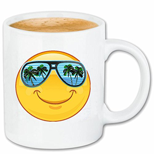 Reifen-Markt Kaffeetasse Smiley IM Urlaub AUF Mallorca MIT Sonnenbrille Smileys Smilies Android iPhone Emoticons IOS GRINSE Gesicht Emoticon APP Keramik 330 ml in
