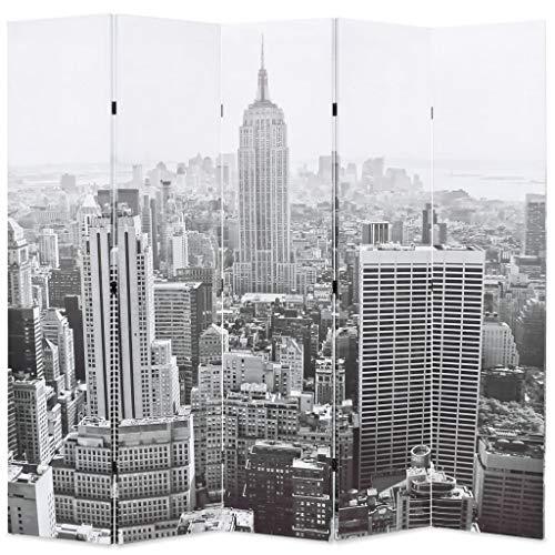 FAMIROSA Biombo Divisor Plegable 200x170 cm Nueva York Blanco y Negro Multicolor