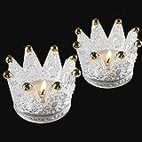 Uni-Fine 2 Piezas Portavelas de Cristal Transparente Portavelas de Vidrio Corona Portavelas de Mesa para Bodas, Decoración del Hogar, Fiestas, Regalos