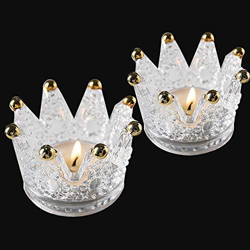 Uni-Fine 2 Stück Glas Teelichthalter Krone Teelichtgläser Geschenk Kerzenhalter Deko für Weihnacht,Geburtstag, Party, Hochzeit, Feier, Haushalt