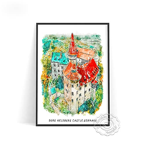 lubenwei Watercolour World City Travel Poster London Brussels Japan Rome Wall Pictures Germany Belgium Italy Print Art Home Decor (AU-946) 50x70cm No frame