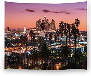 Misscc Home Decor Tapestry, Wall Hangings Beautiful Sunset of Los Angeles Downtown Skyline and Palm Trees Wall Tapestries Bedroom Living Room Dorm