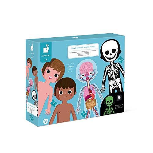 Puzzles Educativos Infantiles El Cuerpo Humano 50 a 100 Piezas - Gran Formato 100 cm - Destrezas Motrices Finas y Aprendizaje de la Concentración - Anatomía - A Partir de los 5 años