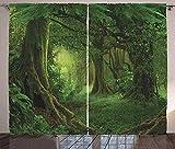 Waple rideau occultant œillet pour le salon Rideau de forêt, paysage de feuillage boisé magique dans la jungle tropicale 220*215cm Rideau Occultant 3D Rideau De Fenêtre Isolant Thermique Et Phonique e