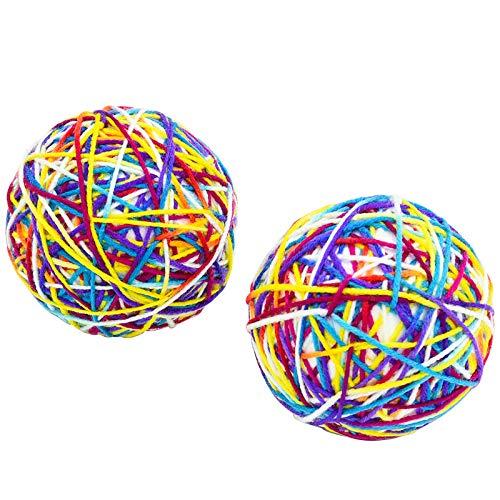 Furpaw 2 x Jouet Balles pour Chat, Boule avec Cloche Jeux Interactif Chat, Grand Balle Laine Chat Coloréés pour Animaux