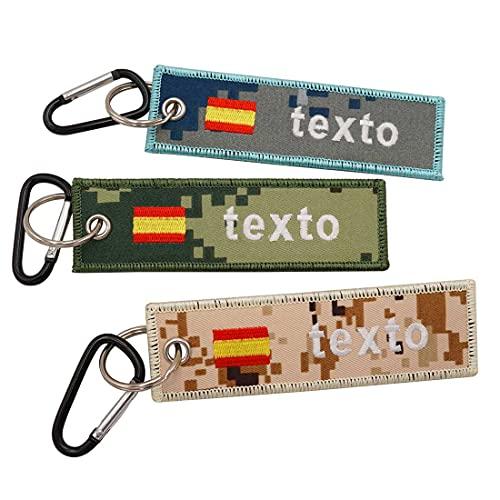 Personalizar parche bordado de camuflaje de la bandera espa?ola personalizado nombre de texto militar llavero