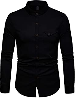 Men's tops and hoodies Men's Long Sleeve Casual Button Business Large Size Casual Top Blouse Shirts