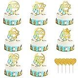 URAQT Topper Tarta Cumpleaños, 13pcs Happy Birthday Cake Topper, Oro Adorno para Tarta de Feliz Cumpleaños con Corazones Cake Cupcake Topper Suministros de Purpurina para Fiestas (Dorado)