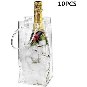 Lamptti Outdoor Wine Beer Ice Bag Cooler – 10 Pack de PVC Leakproof Ice Bag Transparente Ice Pack Portátil Ice Bucket Wine Cooler Bag Champagne Bottle Chiller with Carry Handle: Amazon.es: Hogar