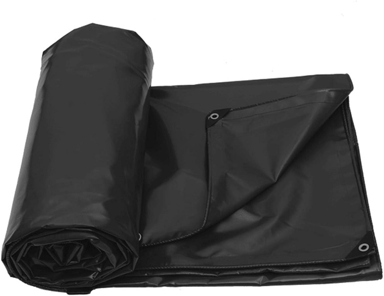 CHAOXIANG Tarpaulin Waterproof Heavy Duty Thicken Rain Cloth Linoleum Rainproof Shade Easy to Fold PVC, 630G m2, 6 colors, 6 Sizes (color   Black, Size   4×3m)