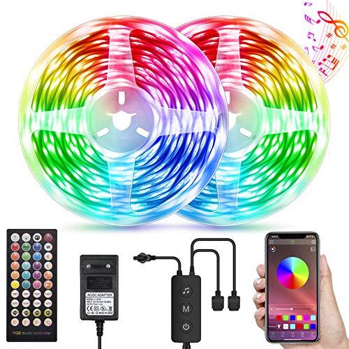 LED Strip 30M, Bluetooth LED Streifen Sync mit Musik, APP-Steuerung und Fernbedienung 40 Tasten, RGB 5050 LED Stripes mit 24V Netzteilfür Party, Raum, Schlafzimmer, TV, Küche, Weihnachten Deko