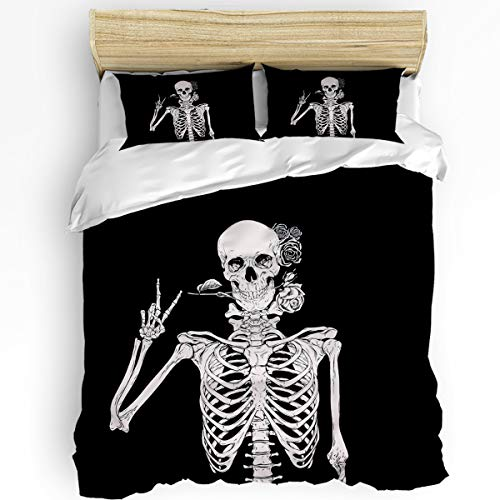 Meet 1998 3 Pieces Duvet Cover Sets Skull Rose Soft Bedding Sets with Zipper Black White Include 1 Comforter Cover and 2 Pillow Shams King Size