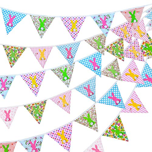 Whaline Easter Fabric Bunting Banner, Double Sided Flags Garland with Felt Bunny, 33 Feet Vintage Floral Pennants for Easter Birthday Parties Baby Shower Home Decoration