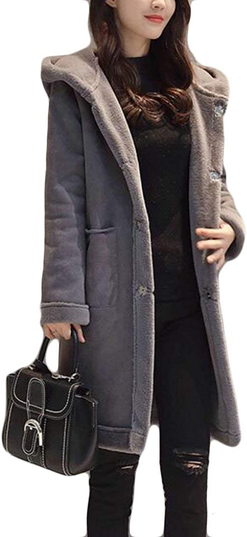 Alion Women Winter Warm Suede Lamb Wool Open Front Thicken Hooded Jacket