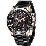 LIGE Men's Watches Waterproof Analog Quartz Sport Stainless Steel Date Chronograph Black Gold Luxury Wrist Watch Men Brand Watch Casual