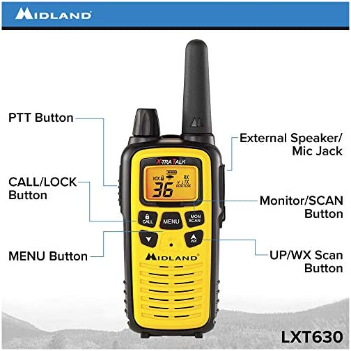 Midland 36 Channel FRS Two-Way Radio - Long Range Walkie Talkie, 121 Privacy Codes, NOAA Weather Scan + Alert (Yellow… 4