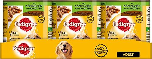 Pedigree Hundefutter Nassfutter saftiges Geschnetzeltes mit Kaninchen und Karotten in Sauce, 12 Dosen (12 x 800g)