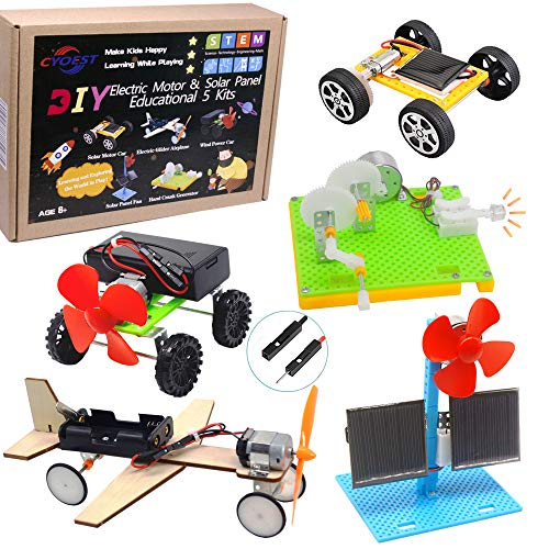 CYOEST DIY 5 Set STEM Lab&Science Kits Toys for Kids, Electric Motor Assembly Solar Powered Kit, DIY Educational Engineering Experiments...